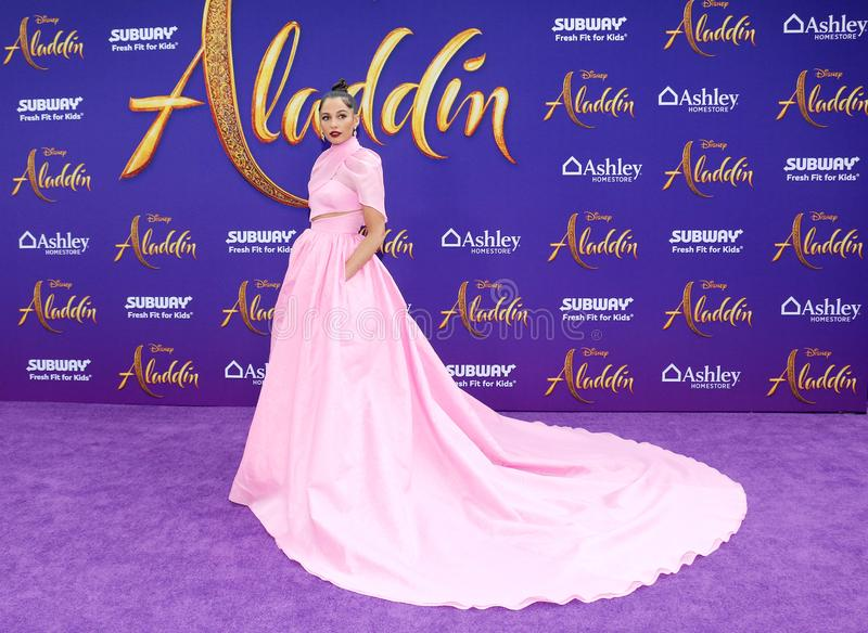 Naomi Scott. At the Los Angeles premiere of `Aladdin` held at the El Capitan Theatre in Hollywood, USA on May 21, 2019 royalty free stock image