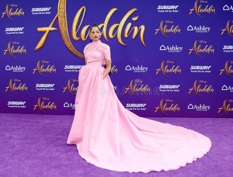Naomi Scott. At the Los Angeles premiere of `Aladdin` held at the El Capitan Theatre in Hollywood, USA on May 21, 2019 royalty free stock photo