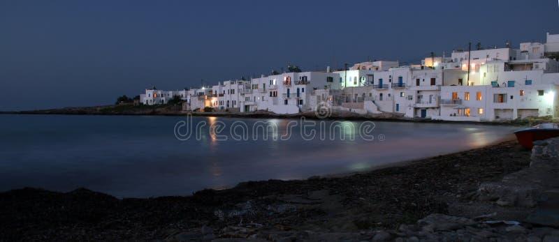 Naoussa an der Dämmerung. Paros, Griechenland lizenzfreies stockbild