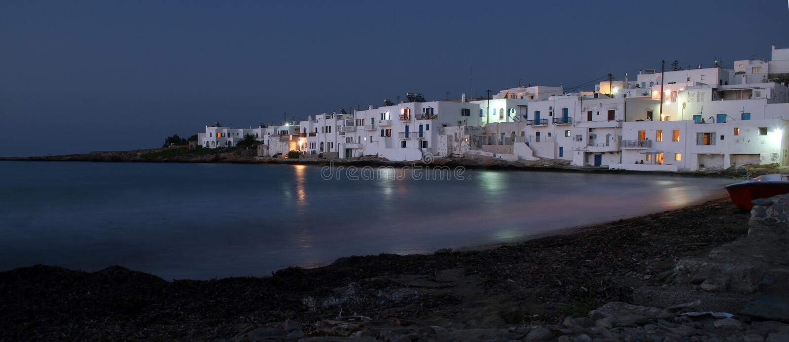 Naoussa at dusk. Paros, Greece royalty free stock image