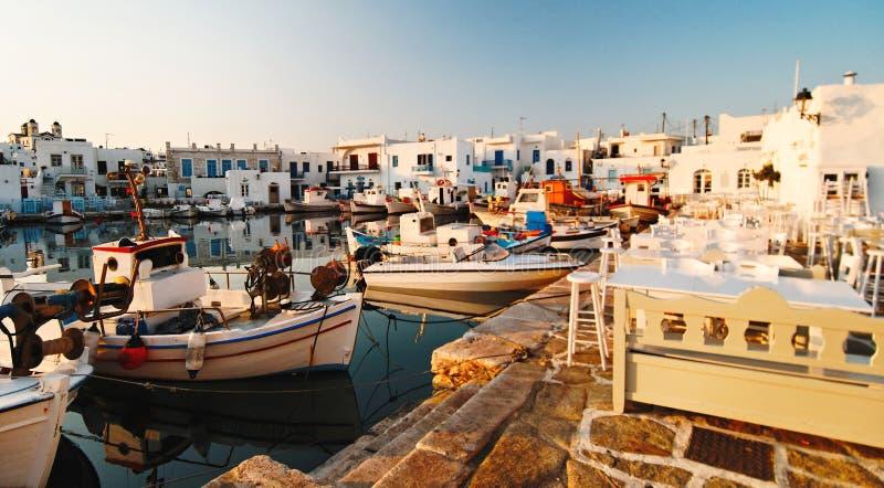 Naoussa hamn, Paros arkivbilder