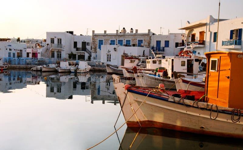 Naoussa seaport arkivbilder