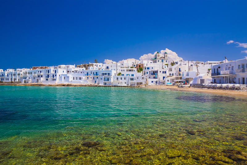 Naoussa stad, Paros ö, Cyclades som är aegean, Grekland arkivbilder