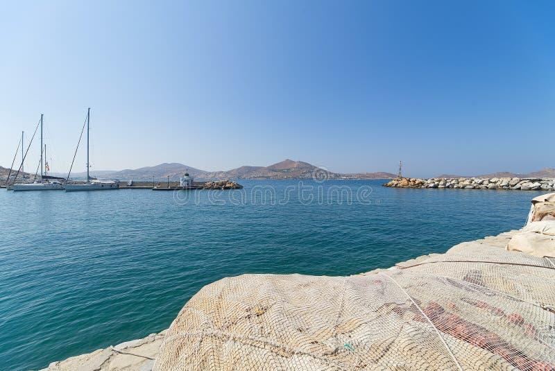 Naoussa village and harbor - Aegean Sea - Paros Cyclades island - Greece stock photo
