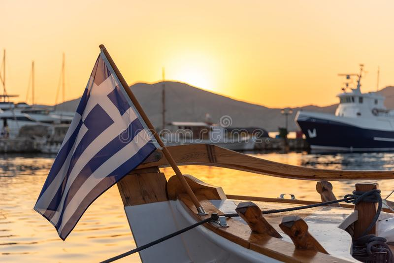 Naoussa village and harbor at sunset - Aegean Sea - Paros Cyclades island - Greece royalty free stock images