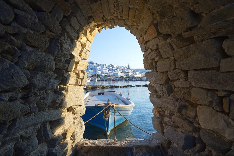 Naoussa village and harbor at sunset - Aegean Sea - Paros Cyclades island - Greece royalty free stock image