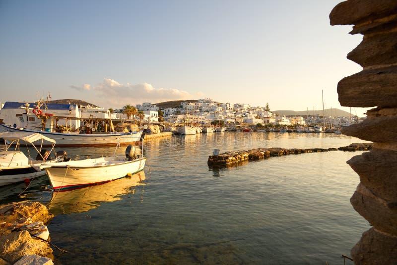 Naoussa village and harbor at sunset - Aegean Sea - Paros Cyclades island - Greece royalty free stock photos