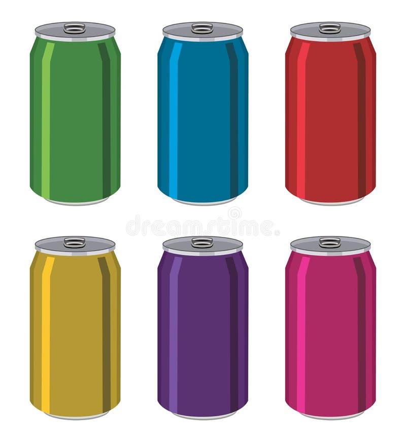 Napój blaszane puszki, aluminiowi kolorowi zbiorniki royalty ilustracja