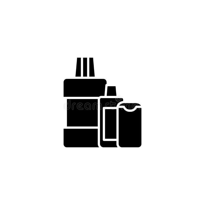 Napój ikony czarny pojęcie Napoju płaski wektorowy symbol, znak, ilustracja royalty ilustracja