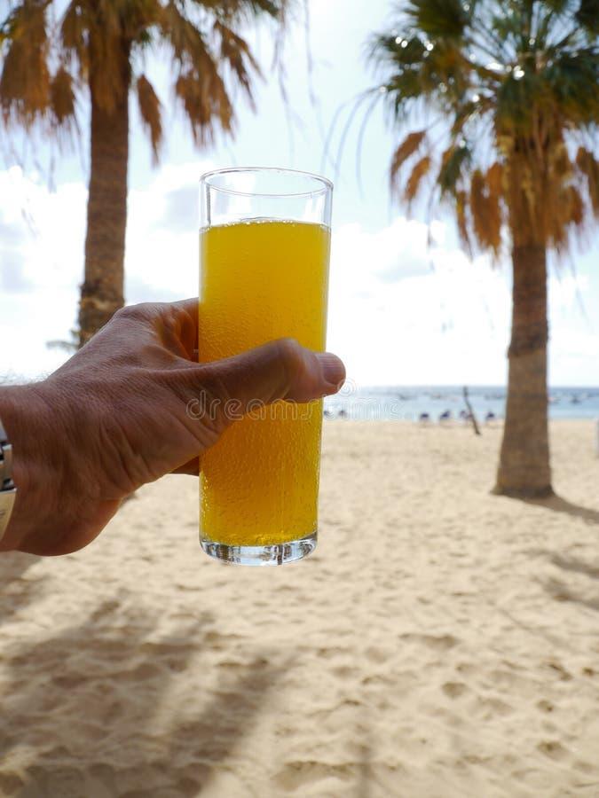 Napój ręki plaża zdjęcie stock