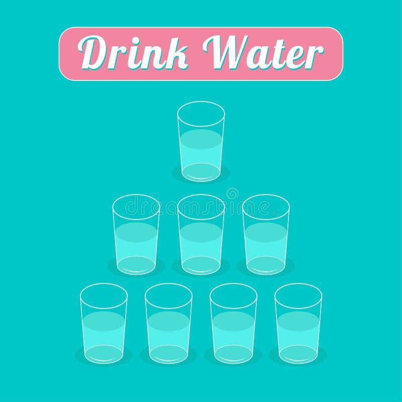 Napój 8 szkieł woda pojęcie zdrowego stylu życia Ostrosłupa set Infographic Płaski projekt ilustracji