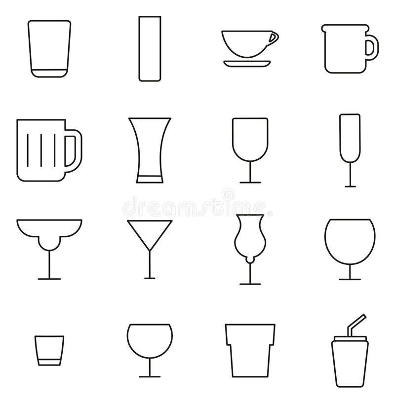 Napój Szklany lub Pije szkło ikony Cienieje Kreskowego Wektorowego ilustracja set ilustracji