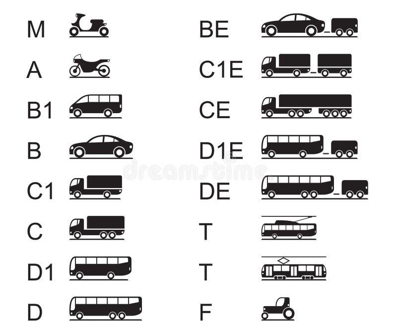 Napędowe koncesje dla różnych drogowych pojazdów royalty ilustracja