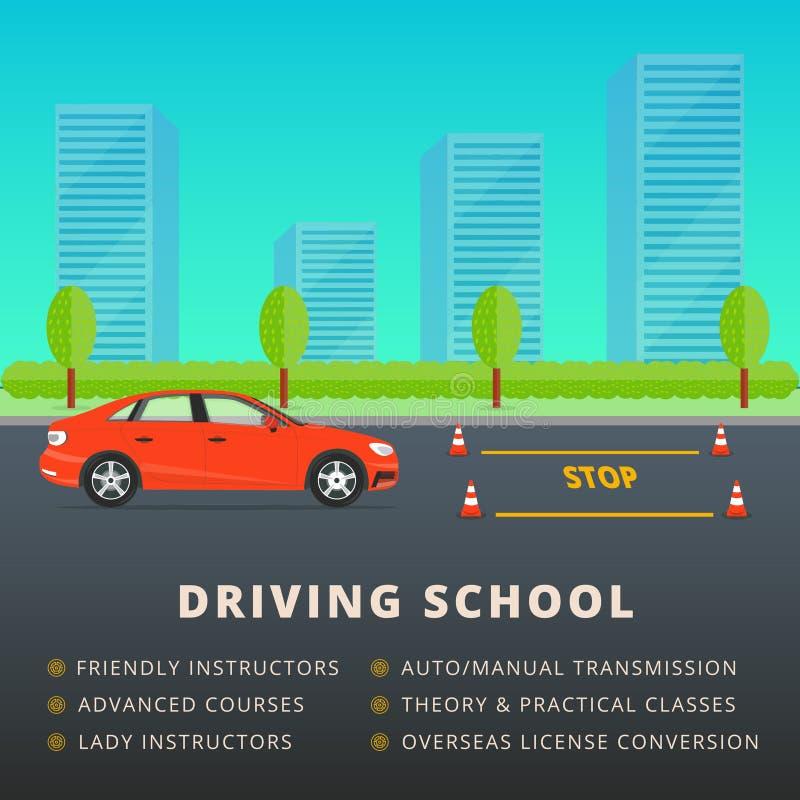 Napędowej szkoły sieci sztandaru reklamy projekt Kierowca klasa ilustracji