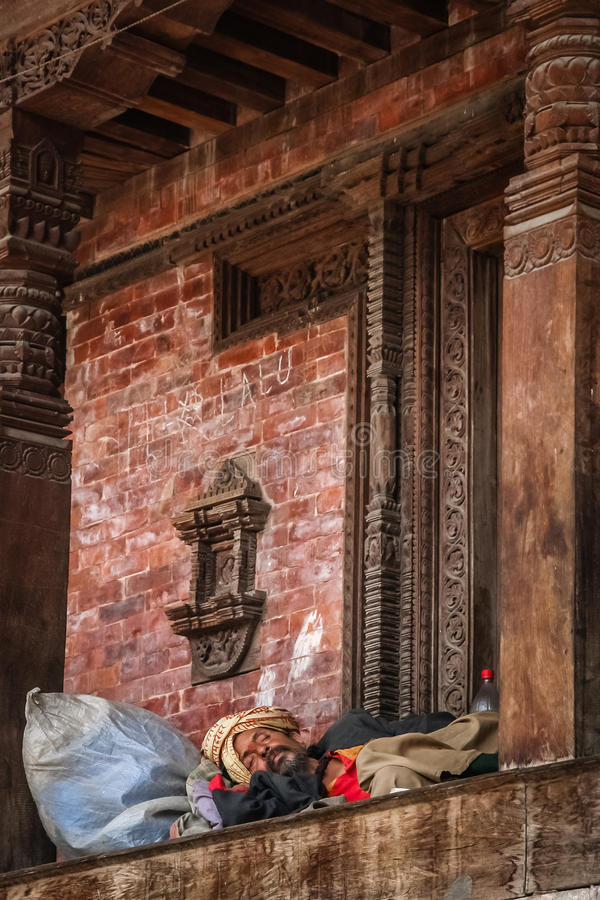 Nap in a temple royalty free stock images