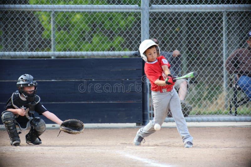 Napa barnserien i basebollbaseball och pojken är drivande royaltyfria bilder