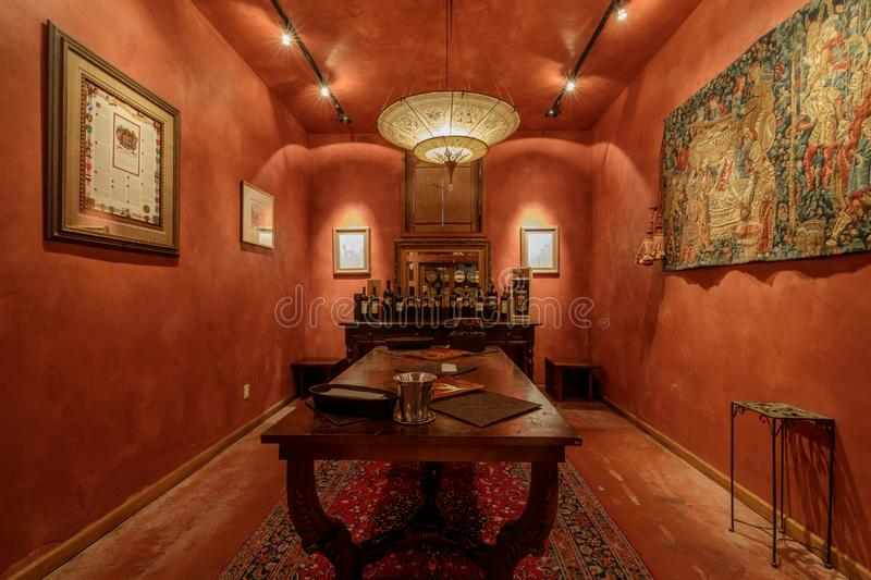 Napa, California - April 27, 2019: Wine Tasting Room in Del Dotto Historic Winery Caves in Napa Valley. Wine tasting room in Napa Valley, California, USA stock photography