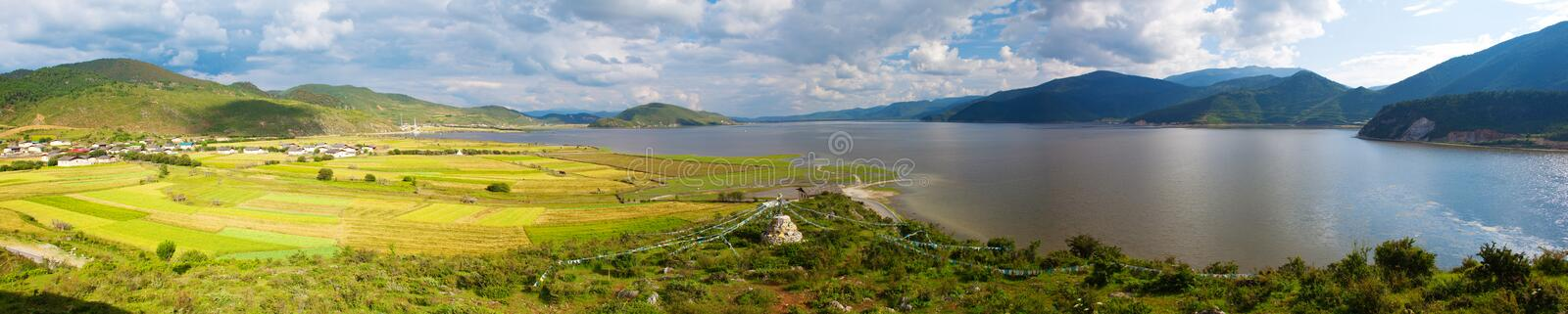 The NAPA sea in SHANGRI-LA. The panoramic view of NAPA sea in SHANGRI-LA, Yunan, China. Cloudy but sunshine on the field royalty free stock photo
