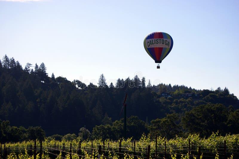 Napa ValleyHot Air Balloon With Calistoga Written On The Balloon Over Vineyard royalty free stock image