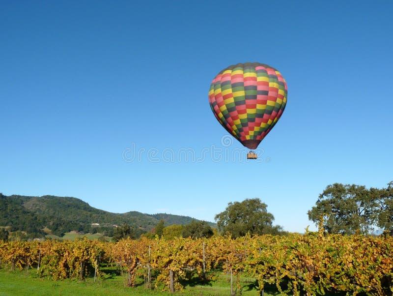 Napa- ValleyHeißluft-Ballon lizenzfreie stockfotos