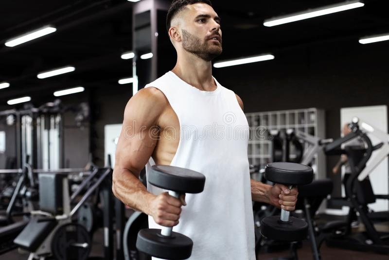 Napad i mięśniowi mężczyzn pociągi z dumbbells fotografia stock