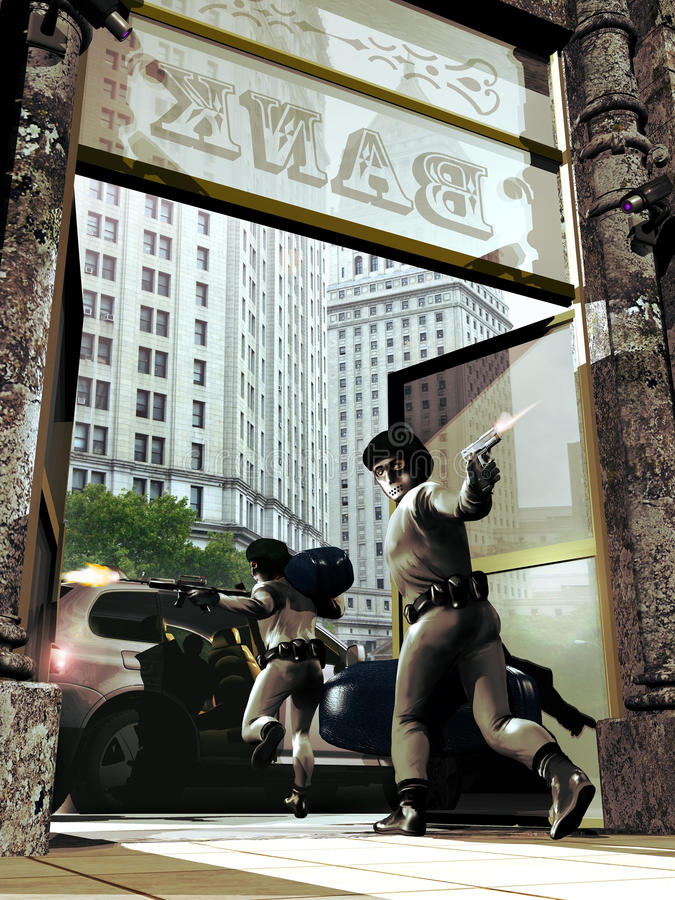 Napad na bank ilustracji