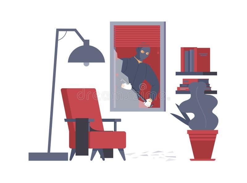 Napad na mieszkanie, zdjęcie wektora mieszkania Niebezpieczny włamywacz z łopatą, złodziej w balońskiej karykaturze ilustracji