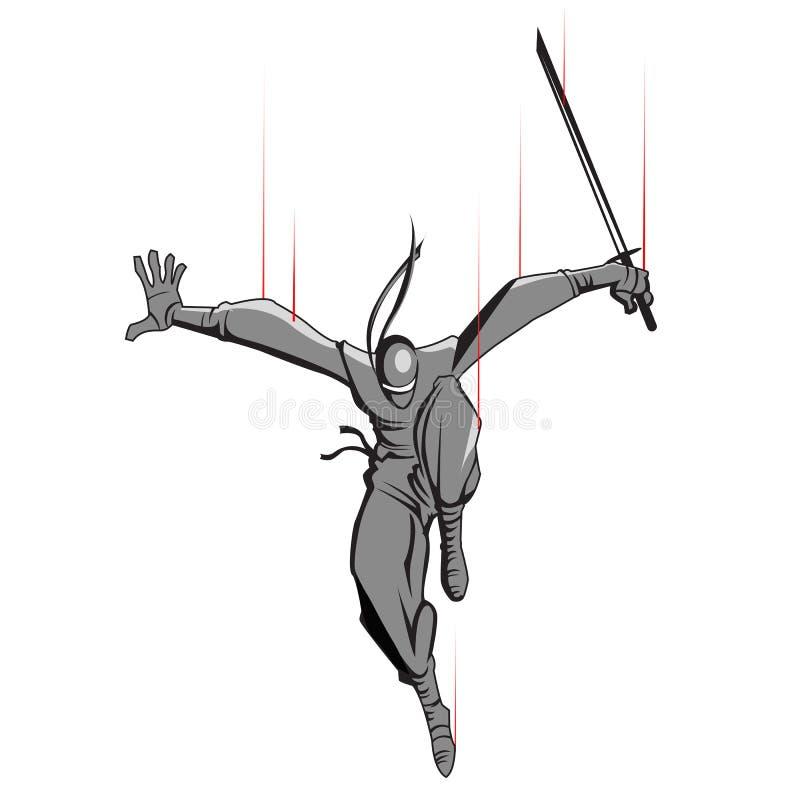 napadania ninja kordzik ilustracji