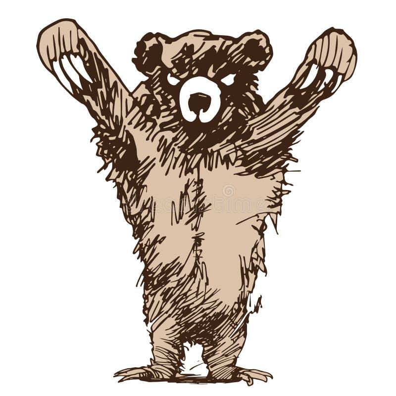 Napadanie grizzly niedźwiedź ilustracji