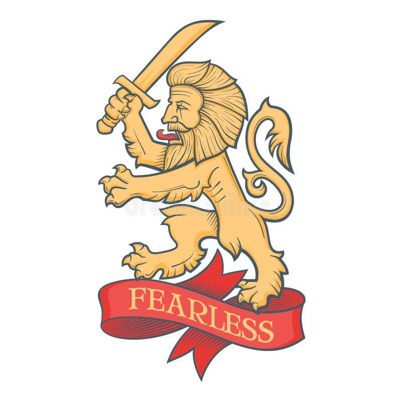 Napadanie lew z kordzikiem ilustracji