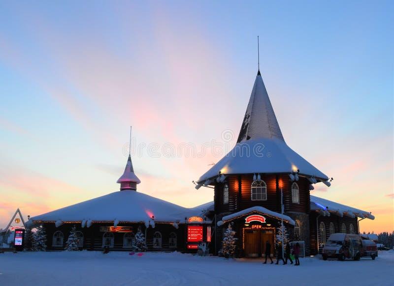 Napapiiri Noordpoolcirkel, Rovaniemi Finland Santa Claus Village royalty-vrije stock fotografie