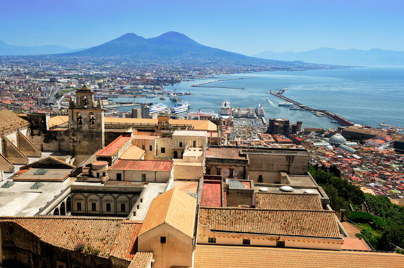 Napels en de Vesuvius, Italië royalty-vrije stock fotografie
