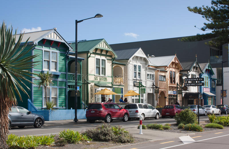 Napier, New Zealand. Apr 20th 2017: Victorian Villas on Marine Parade, known as the six sisters royalty free stock image