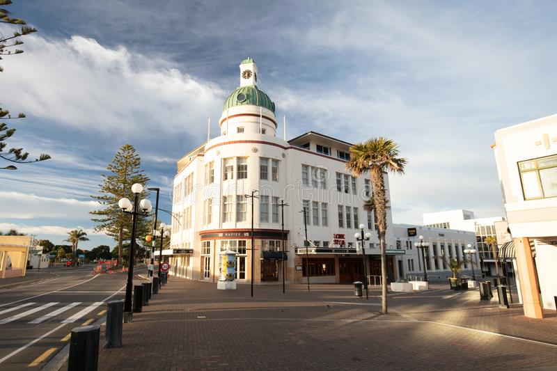Napier New Zealand Architecture. Napier, New Zealand - October 1 2017: The historic art deco architecture on an early spring morniing in Napier New Zealand stock photography