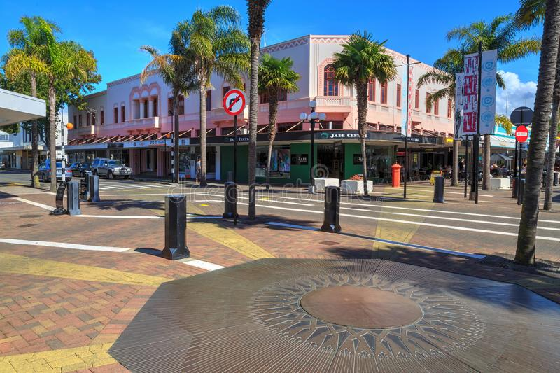 Napier, New Zealand. Art Deco buildings and decoration on Emerson Street. The corner of Emerson and Dalton Streets in Napier. The cobbled area is decorated with stock images