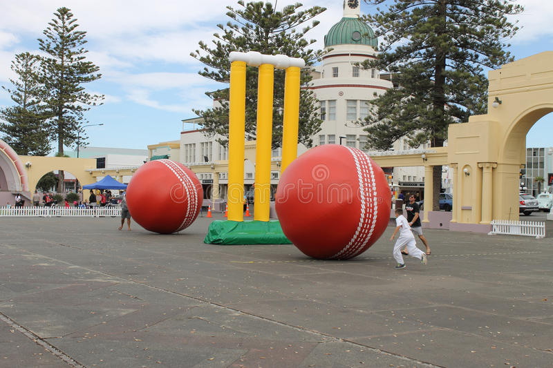 Napier, New Zealand - March 7, 2015: ICC Cricket World Cup, Marine Parade Gardens Park Festivities. Napier, New Zealand - March 7, 2015: ICC Cricket World Cup royalty free stock photos