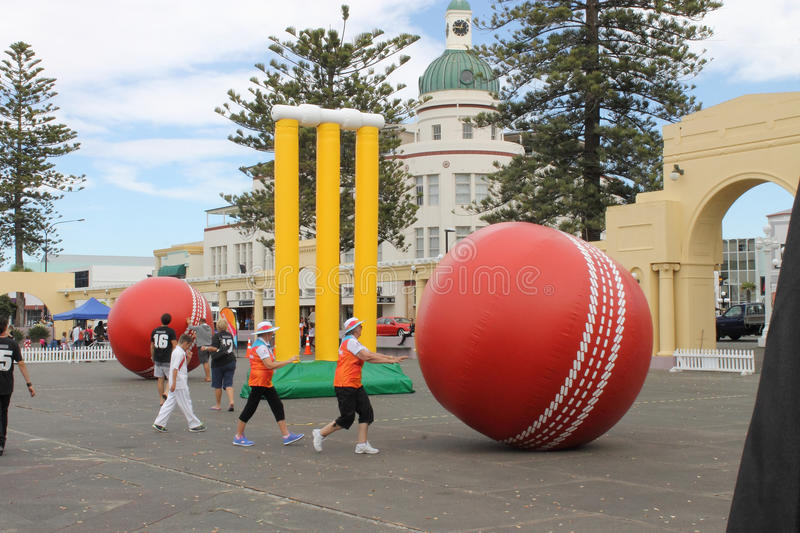 Napier, New Zealand - March 7, 2015: ICC Cricket World Cup, Marine Parade Gardens Park Festivities. Napier, New Zealand - March 7, 2015: ICC Cricket World Cup stock image