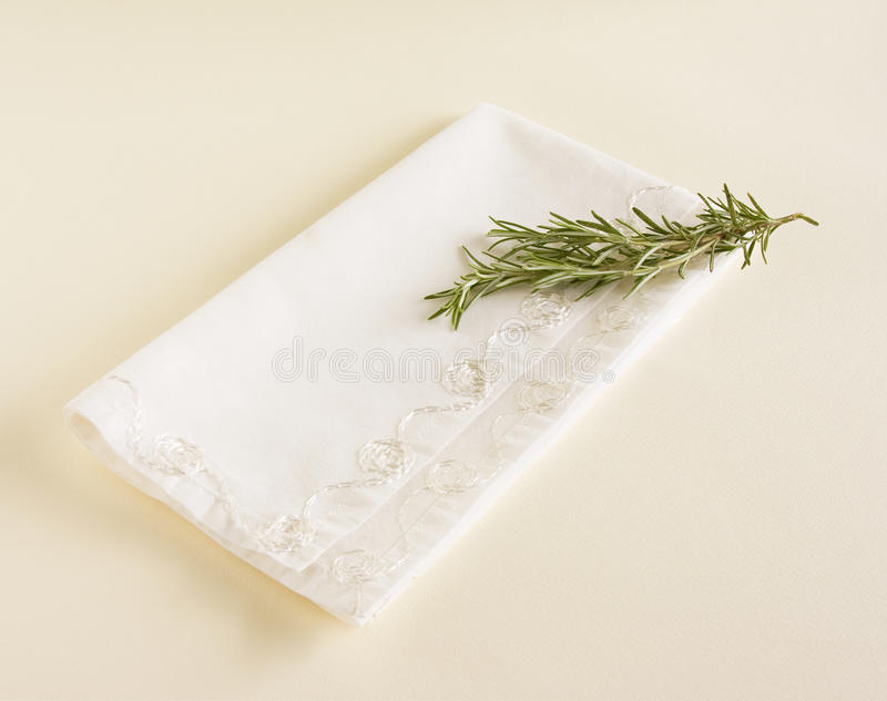 Napkin And Fresh Rosemary Royalty Free Stock Photography