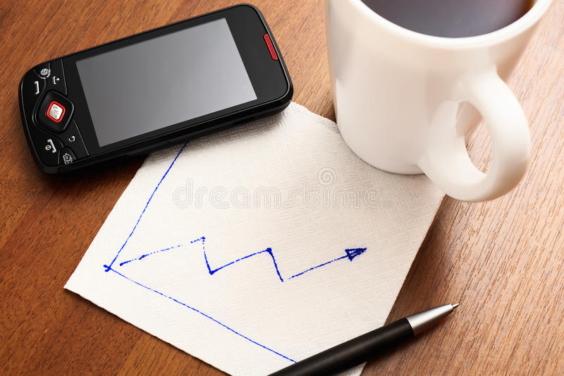 Download Napkin with graph stock image. Image of table, increase - 14193093