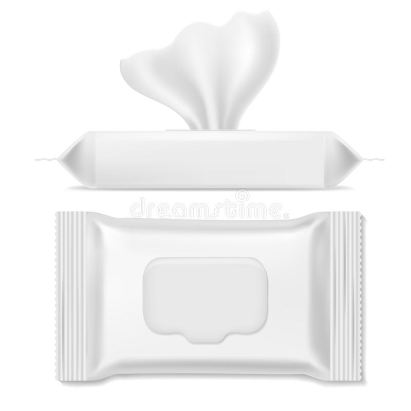 Napkin pack. Antibacterial packs, wet wipes hygiene paper hand napkin makeup clean mockup packing template, realistic. Napkin pack. Antibacterial packs, wet stock illustration