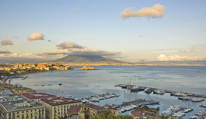 Naples. Panorama of Naples bay and his seafront stock images