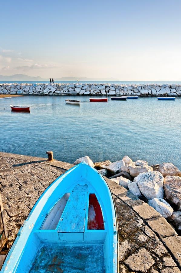 Naples bay with Mediterranean sea royalty free stock photo