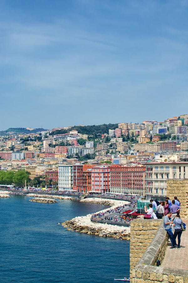 Naples seaside from the castle terrace royalty free stock images