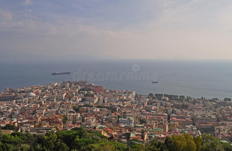 Naples city and Gulf of Naples Campania region Italy. view from Castel Sant`Elmo royalty free stock images