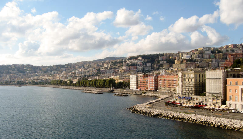 Naples coast. Seaside of Naples coast in cloudy weather stock images