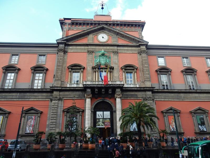 Naples - Entrance to the Archaeological Museum. Naples, Campania, Italy - March 5, 2017: Tourists in line, the first Sunday of March, to enter the National royalty free stock photos