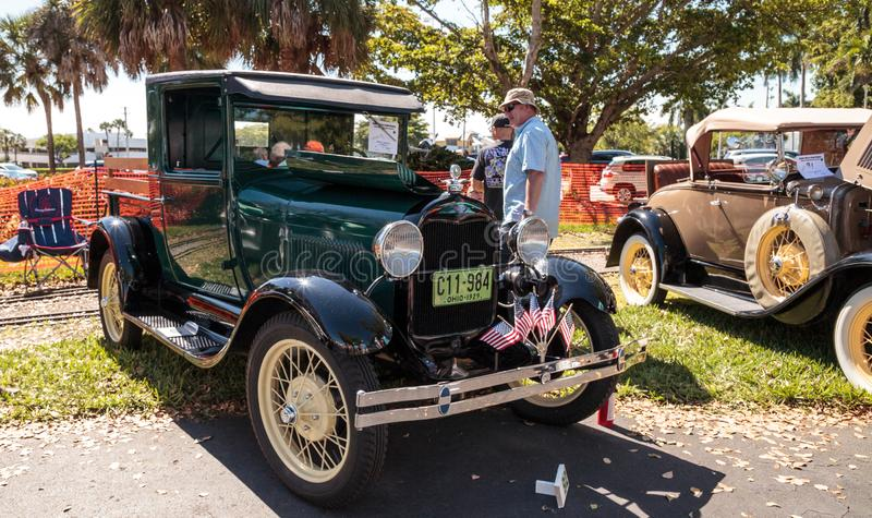 Black 1929 Ford Pickup at the 32nd Annual Naples Depot Classic Car Show stock photos