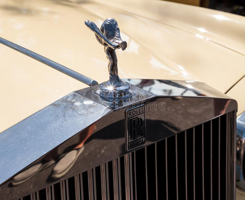 Cream 1985 Rolls Royce Corniche Drop Head at the 32nd Annual Naples Depot Classic Car Show stock photography