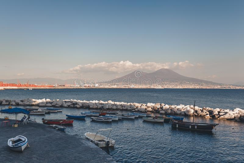 Naples Gulf with boats on the foreground stock photography