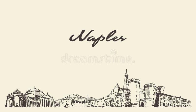 Naples horisont, den drog Italien vektorstaden skissar stock illustrationer
